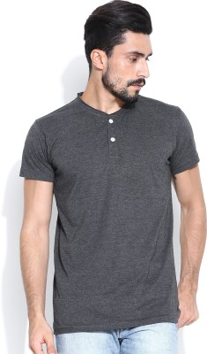 Hubberholme Solid Men's Henley Grey T-Shirt