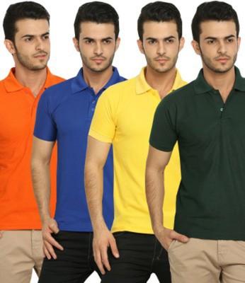 Larwa Solid Men's Polo Neck Orange, Blue, Yellow, Dark Green T-Shirt