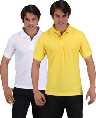 Aqua Solid Men's Polo Neck Yellow, White T-Shirt