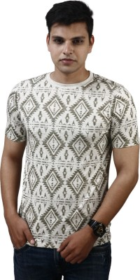 Modimania Self Design Men's Round Neck Silver T-Shirt