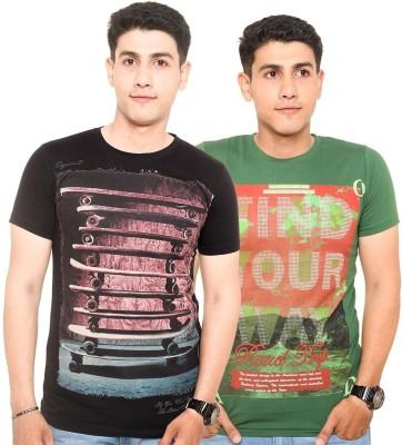 Zwizdot Printed Men,s Round Neck Green, Black T-Shirt