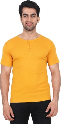 Fashcom Solid Men's Round Neck Yellow T-Shirt