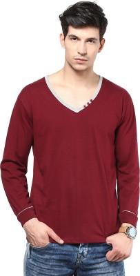 Izinc Solid Men,s V-neck Maroon T-Shirt