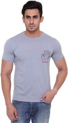 FREE RUNNER Printed Men's Round Neck Grey T-Shirt