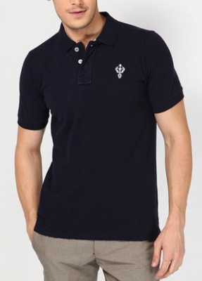 Blacksoul Solid Men's Polo Dark Blue T-Shirt