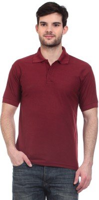 Blue-Tuff Solid Men's Polo Neck Maroon T-Shirt
