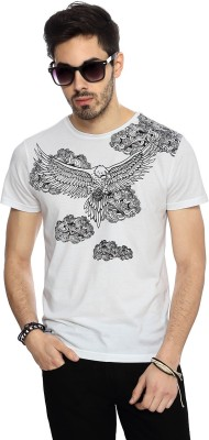 People Graphic Print Men's Round Neck White T-Shirt