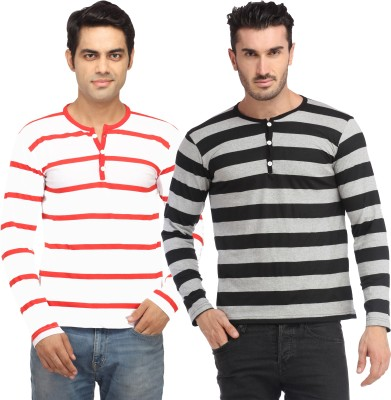 Leana Striped Men,s Fashion Neck Multicolor T-Shirt