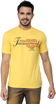 Cotton County Premium Printed Men's Round Neck Yellow T-Shirt