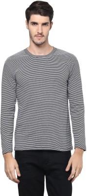 Hypernation Striped Men's Round Neck Black T-Shirt
