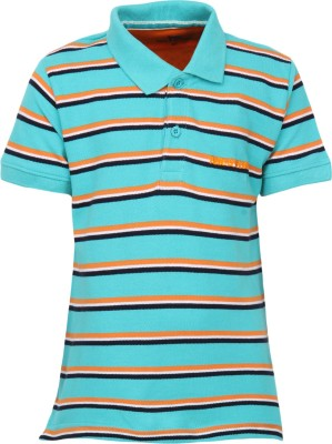 Bells and Whistles Striped Boy's Polo Blue T-Shirt