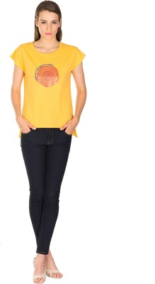 Miss Chick Solid Women's Round Neck Yellow T-Shirt
