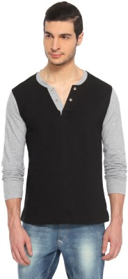 Pepperclub Solid Men's Henley Black, Grey T-Shirt