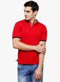 Raw Addict Printed Men's Polo Neck Red T...