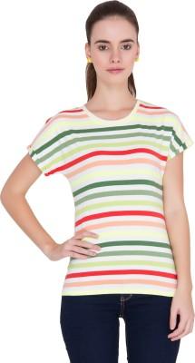 Alibi Striped Women's Round Neck Multicolor T-Shirt