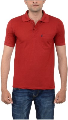 JAPROZ Solid Men,s Polo Neck Maroon T-Shirt