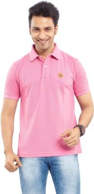 Passport Solid Men's Polo Neck Pink T-Shirt