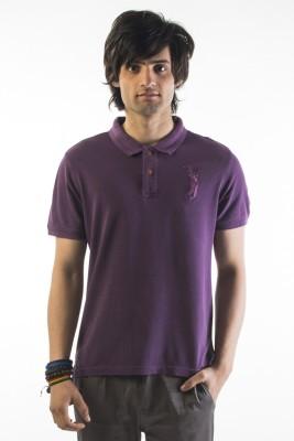 Srota Solid Men's Polo Purple T-Shirt