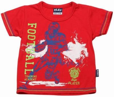 Little Kangaroos Printed Boy's Round Neck Red T-Shirt