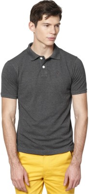 Haute Couture Solid Men's Polo Neck Grey T-Shirt