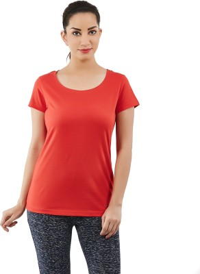 Forever Yoga Solid Women's Round Neck Red T-Shirt