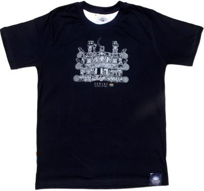 Tricolor Nation Graphic Print Men's Round Neck Dark Blue T-Shirt