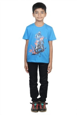 Stop by Shoppers Stop Printed Boy,s Round Neck Blue T-Shirt