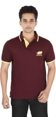 Buzkachi Solid Men's Polo Maroon T-Shirt