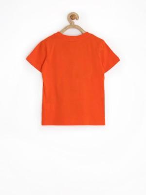 Sela Printed Boy's Round Neck Orange T-Shirt