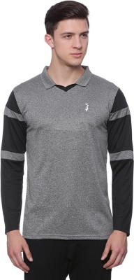 Campus Sutra Solid Men's Polo Neck Grey, Black T-Shirt at flipkart
