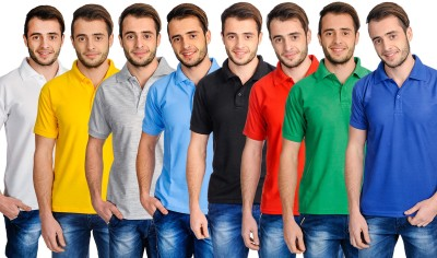 Superjoy Solid Men's Polo Neck Light Blue, Green, Red, Blue, Yellow, Black, White T-Shirt