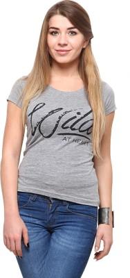 Yepme Printed Women's Round Neck Grey T-Shirt at flipkart