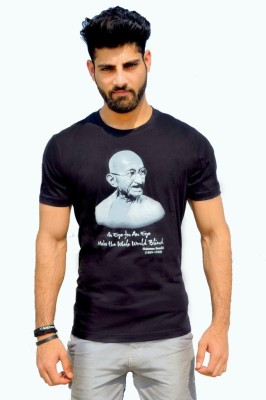 Geesa Printed Men's Round Neck Black T-Shirt