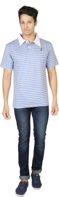 Being Odia Striped Men's Polo Neck Blue, White T-Shirt