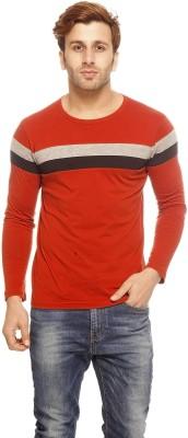 Gritstones Solid Men's Round Neck Brown T-Shirt