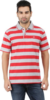 6P6 Striped Men's Polo Neck Red, Grey T-Shirt