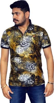 Navratna Nxt Floral Print Men,s Flap Collar Neck Yellow T-Shirt