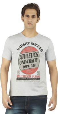Soulrebel Graphic Print Men's Round Neck Grey T-Shirt