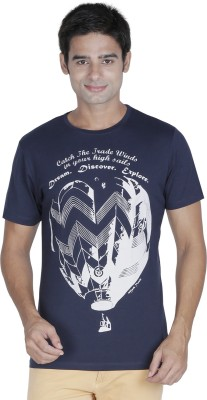 Element of Humanity Graphic Print Men's Round Neck Dark Blue T-Shirt