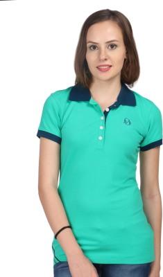 Oriel Merton Solid Women's Polo Green T-Shirt