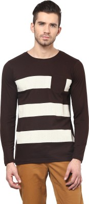 Acomharc Striped Men's Round Neck Brown T-Shirt