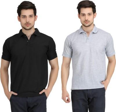 Krazy Katz Solid Men's Polo Neck Black, Grey T-Shirt