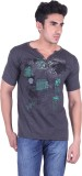 Lluminati Solid Men's Henley Grey T-Shir...