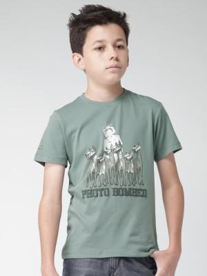 WROGN Graphic Print Boy's Round Neck Dark Green T-Shirt