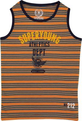 SuperYoung Striped Boy's Round Neck Orange T-Shirt