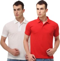 Lime Men's Wear - Lime Solid Men's Polo Neck White, Red T-Shirt(Pack of 2)