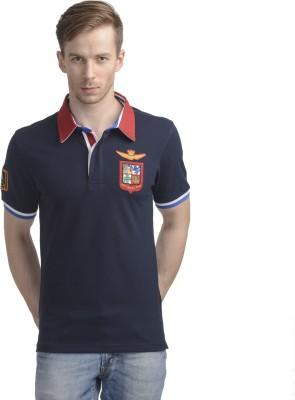 WRIG Printed Men's Polo Neck Blue T-Shirt