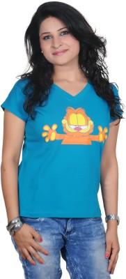 Golden Couture Graphic Print Women's V-neck Blue T-Shirt