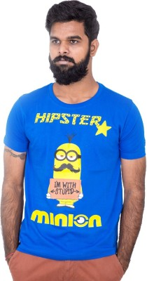Hipsters Printed Men's Round Neck Blue T-Shirt