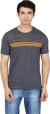 Minute Merge Printed Men's Round Neck Grey, Yellow T-Shirt